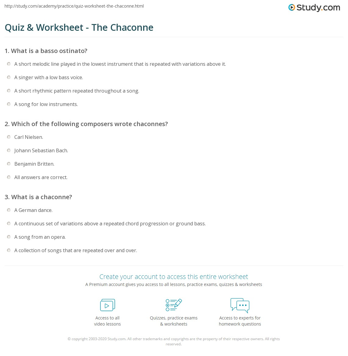 Quiz & Worksheet - The Chaconne | Study com