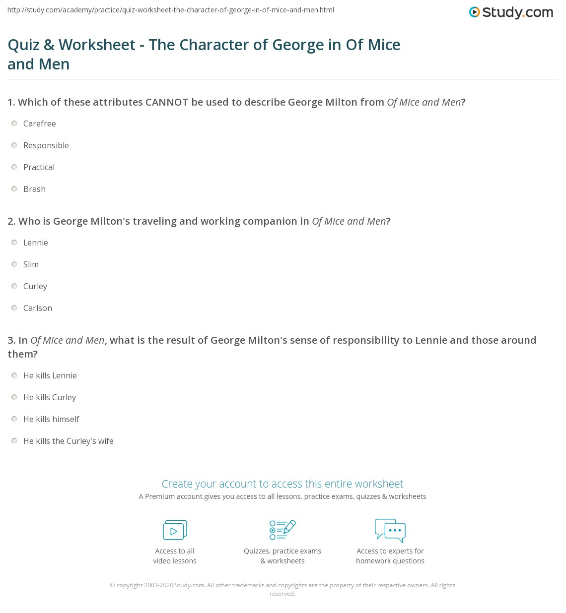 Of Mice And Men George Quotes Quiz & Worksheet  The Character Of George In Of Mice And Men