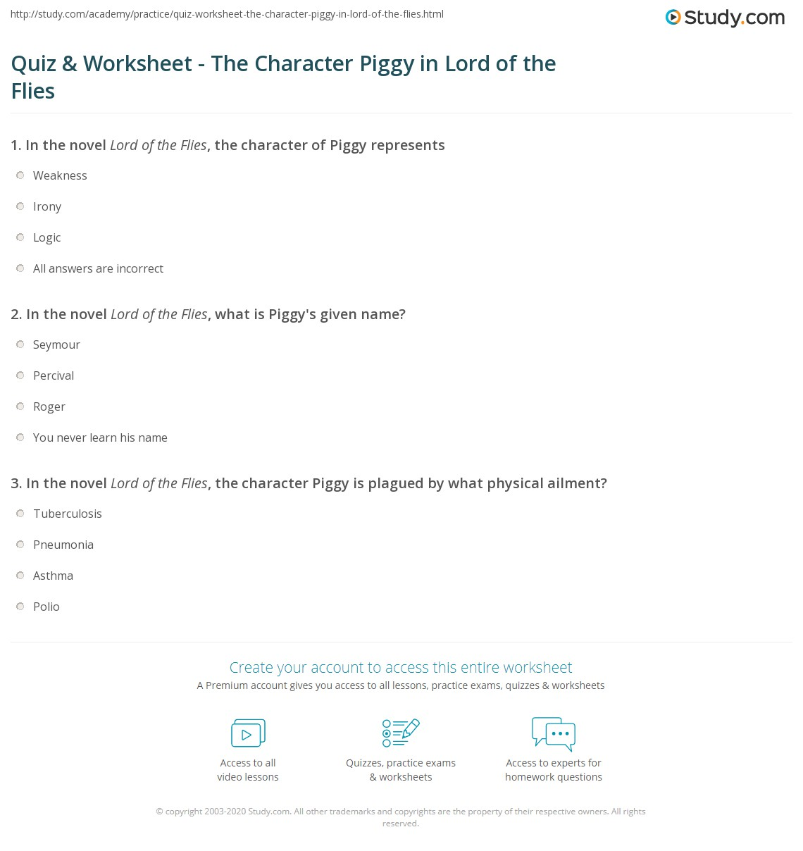 quiz worksheet the character piggy in lord of the flies  print piggy in lord of the flies character analysis quotes worksheet
