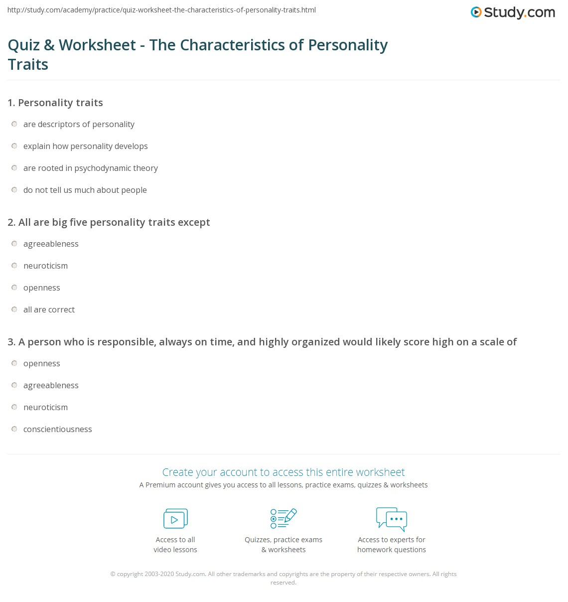 photograph regarding Personality Quiz Printable named Quiz Worksheet - The Features of Individuality Characteristics