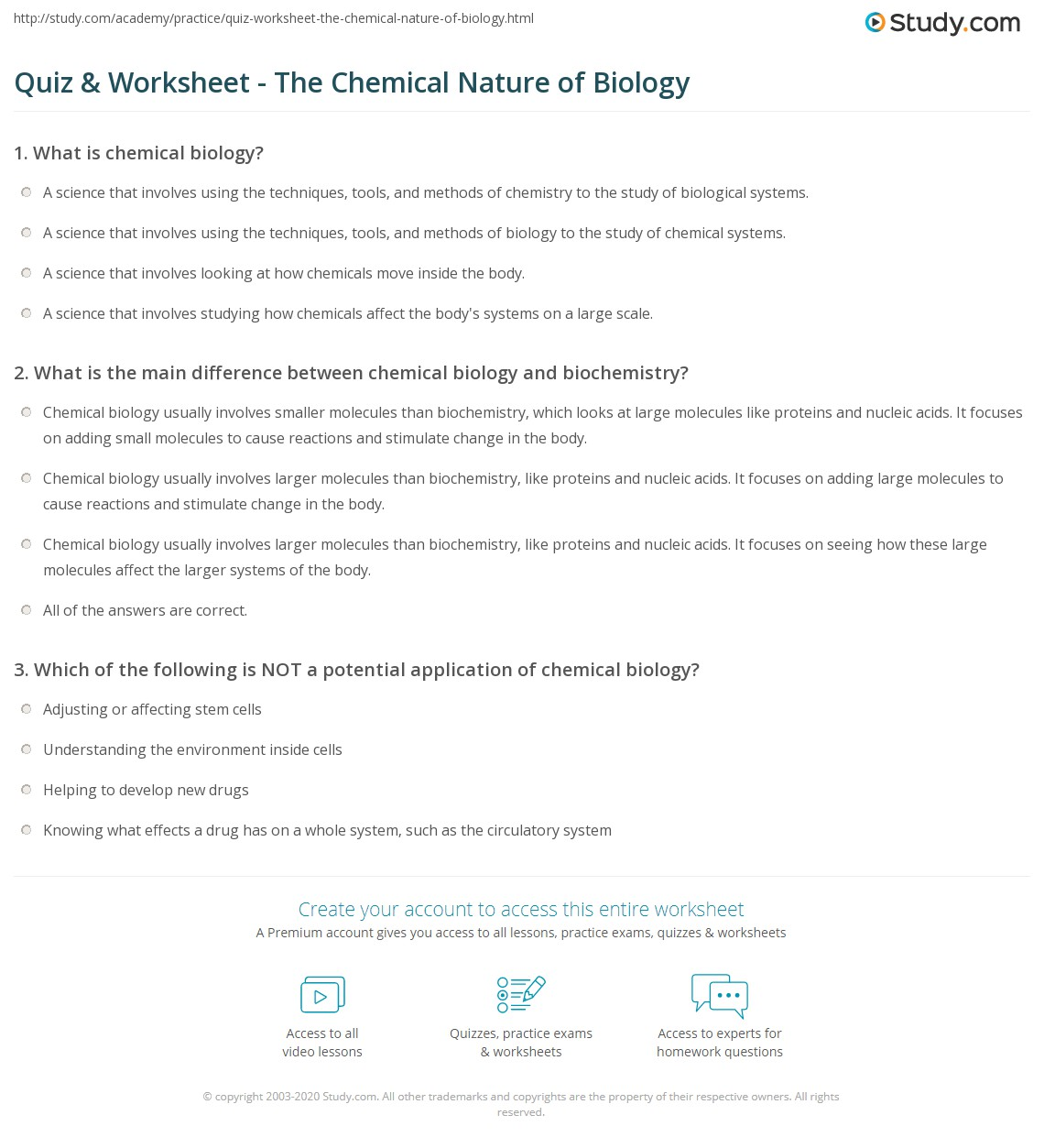 worksheet Biology Worksheet quiz worksheet the chemical nature of biology study com print what is worksheet