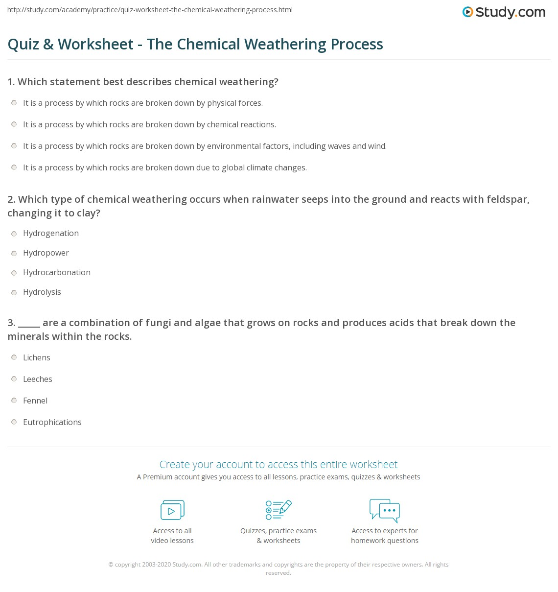 Quiz & Worksheet The Chemical Weathering Process