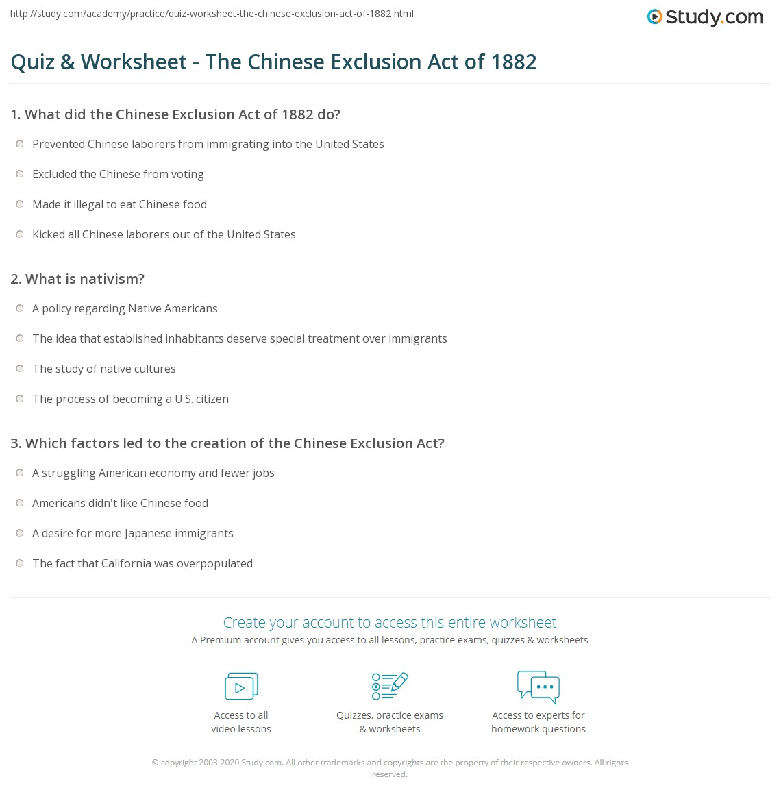 Quiz Worksheet The Chinese Exclusion Act Of 1882 Study