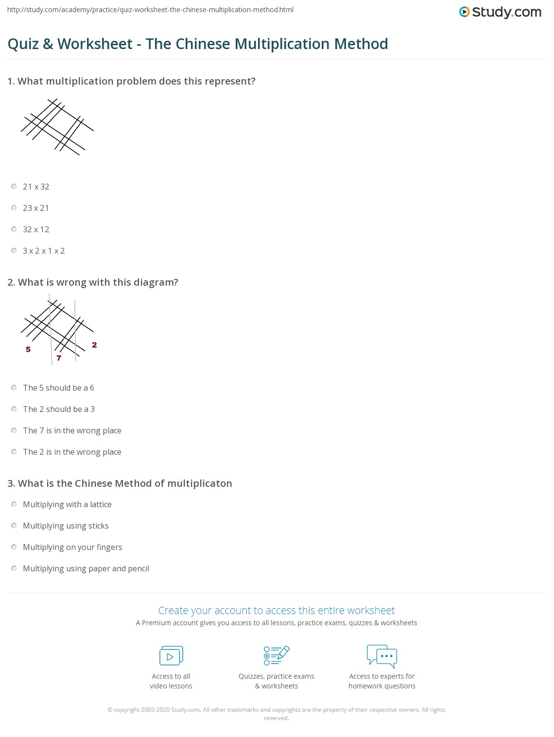 Quiz Worksheet The Chinese Multiplication Method – Lattice Method of Multiplication Worksheets