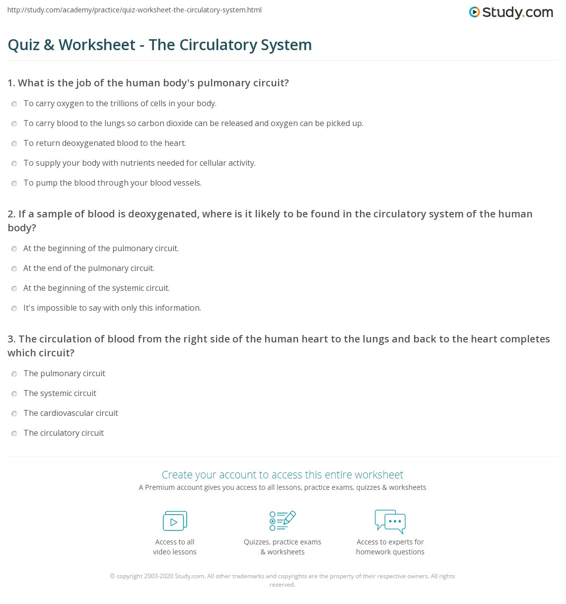 Printables Circulatory System Worksheet quiz worksheet the circulatory system study com print human parts and functions worksheet