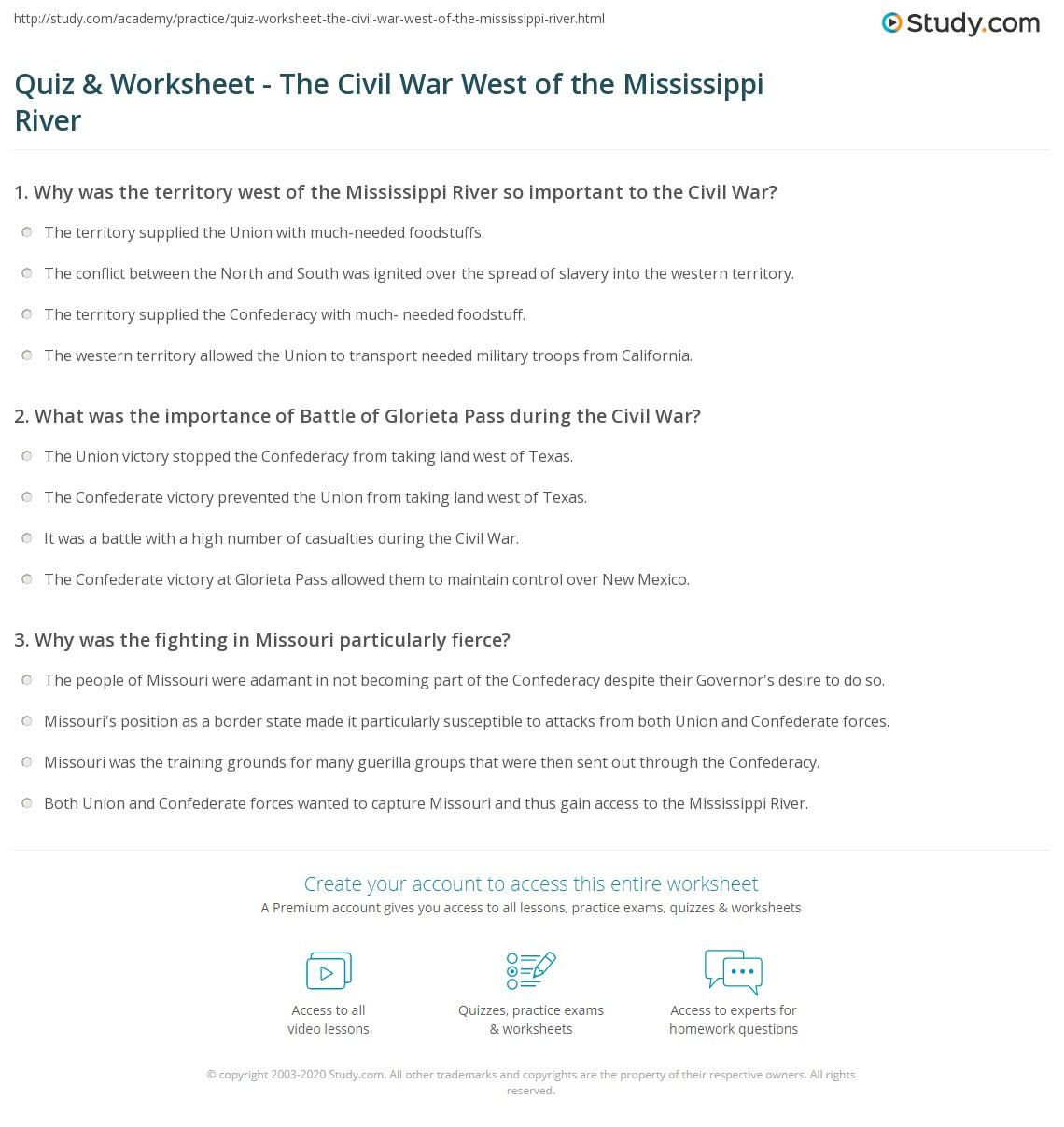 Quiz Worksheet The Civil War West Of The Mississippi River