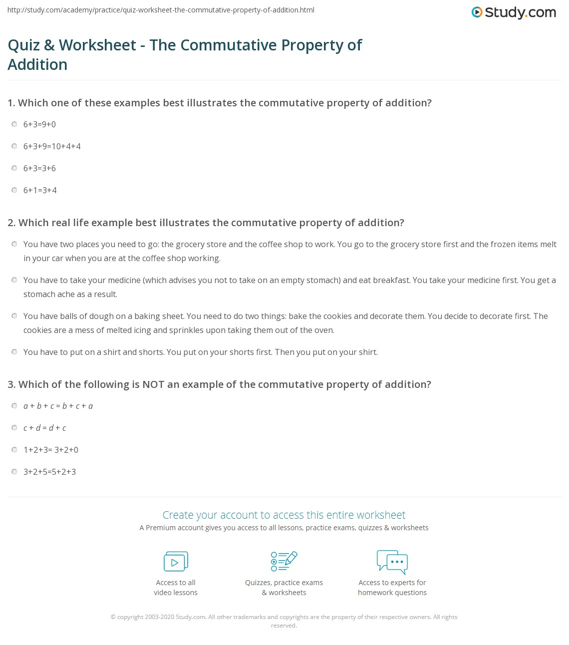 Quiz Worksheet The Commutative Property Of Addition Study