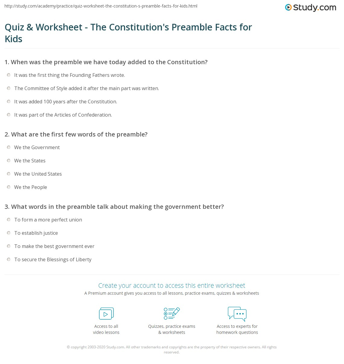 Worksheets Preamble Worksheet quiz worksheet the constitutions preamble facts for kids print to constitution lesson worksheet