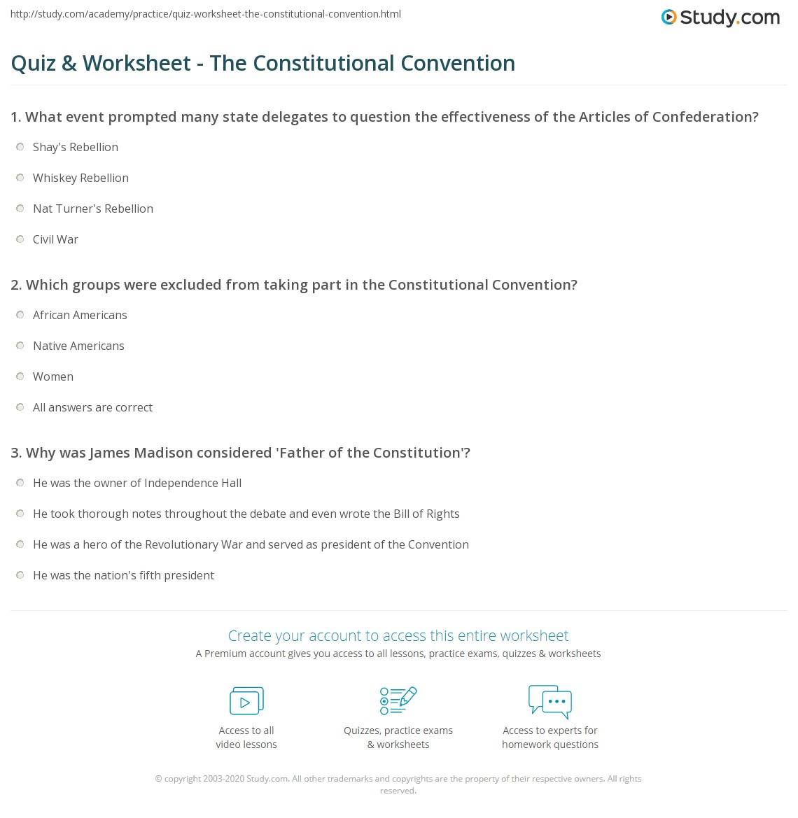 quiz worksheet the constitutional convention com print the constitutional convention delegates purpose worksheet