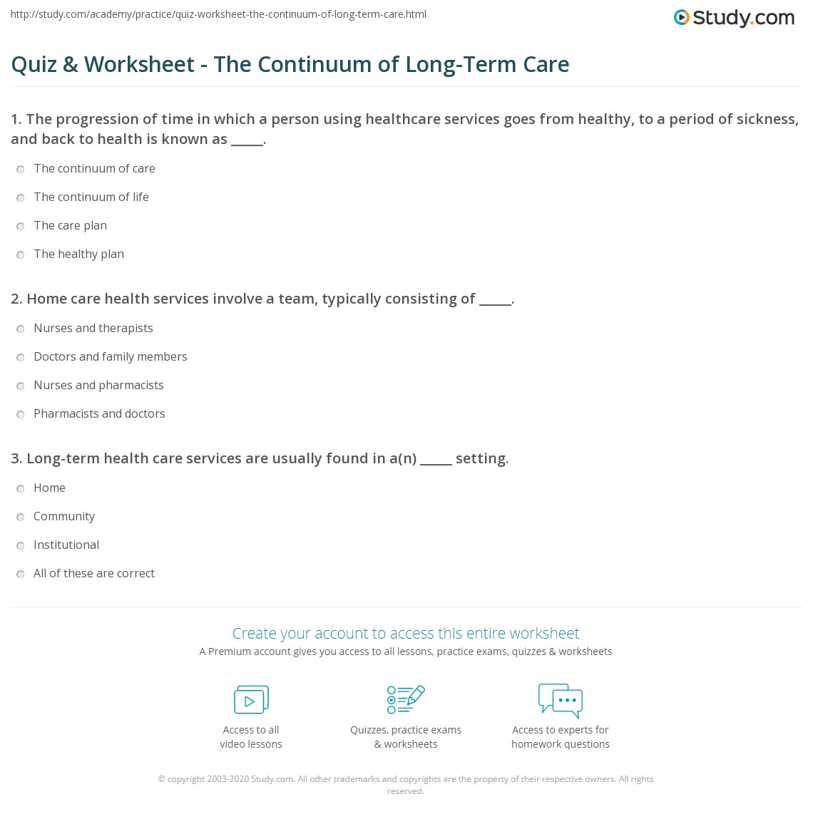 quiz & worksheet - the continuum of long-term care | study