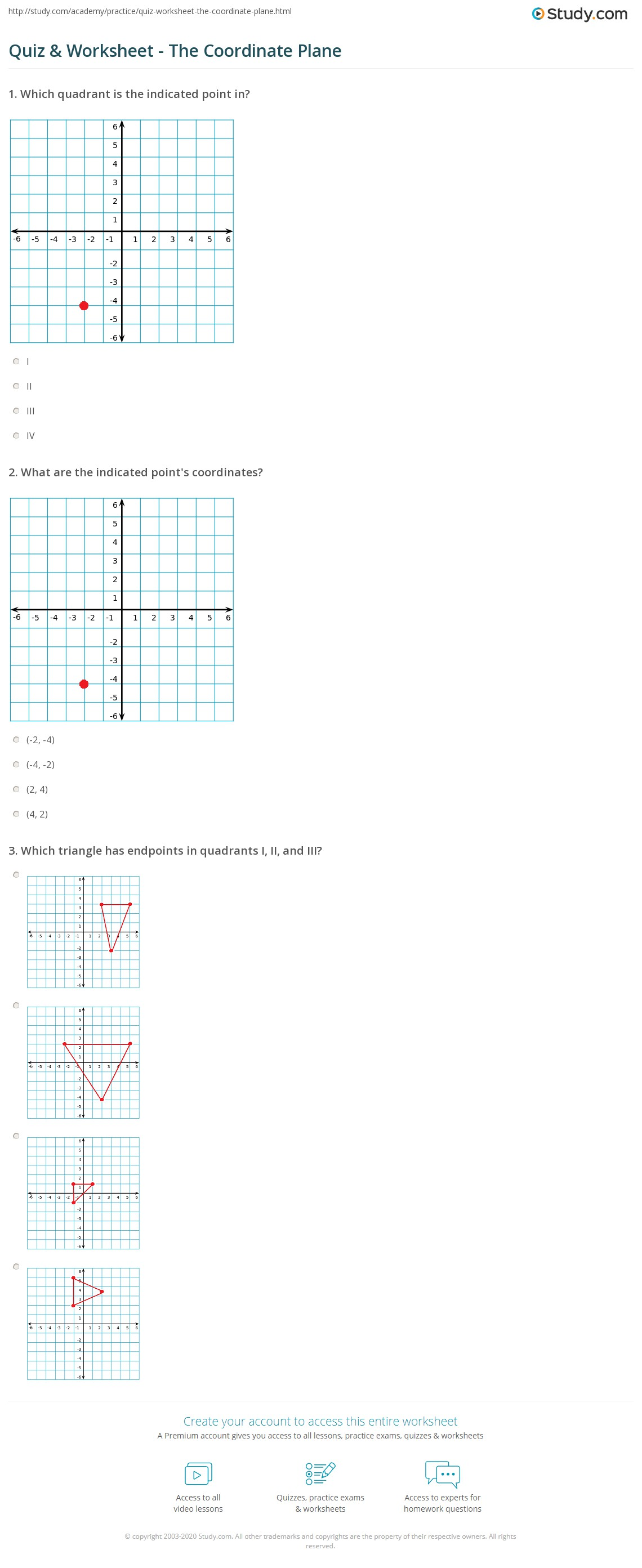 Quiz Worksheet The Coordinate Plane Study Com