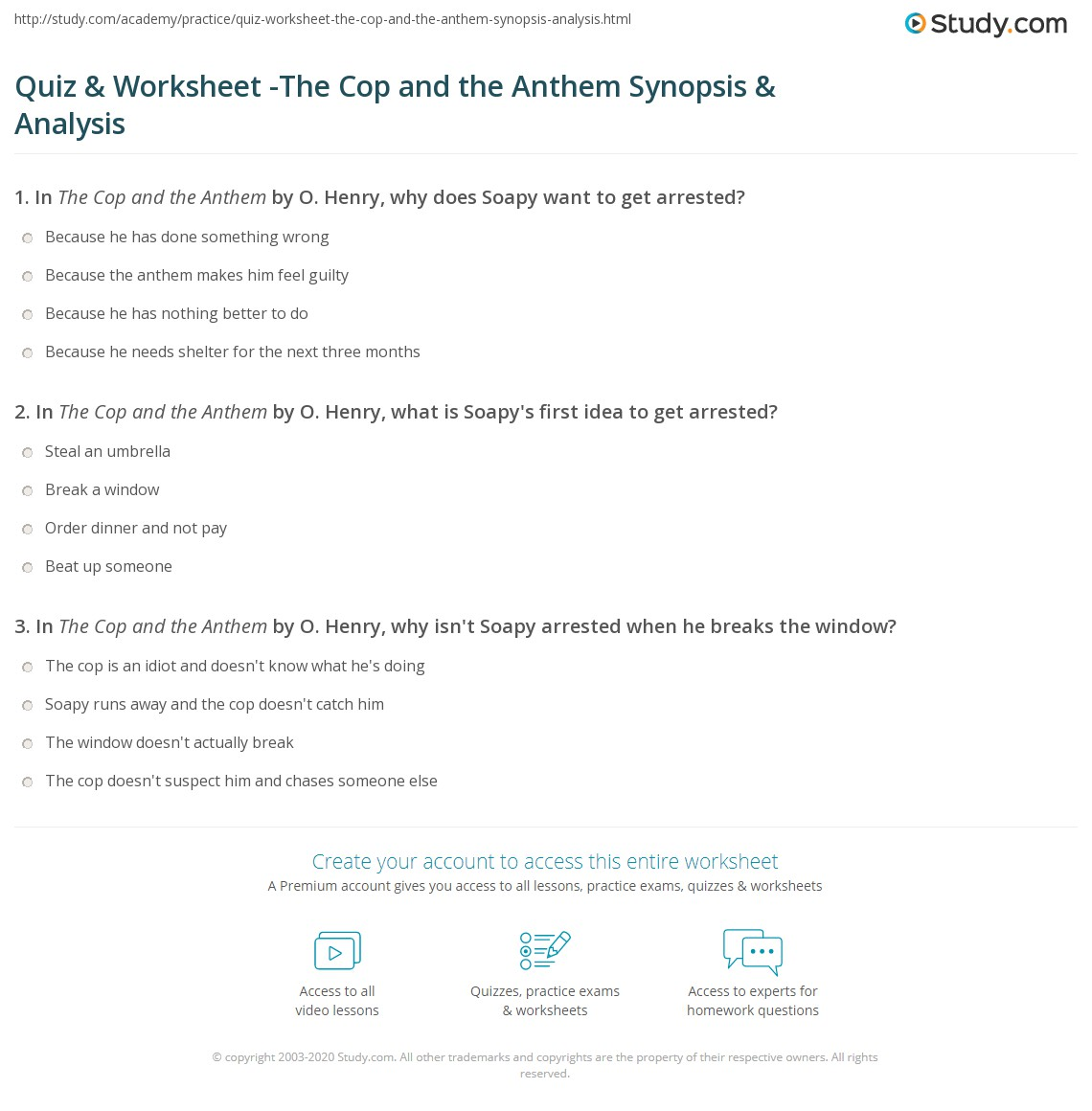 quiz worksheet the cop and the anthem synopsis analysis  print the cop and the anthem summary analysis worksheet