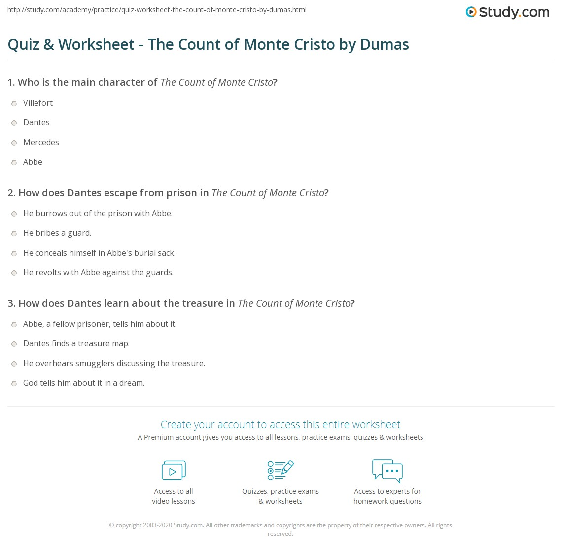quiz worksheet the count of monte cristo by dumas com print the count of monte cristo summary characters worksheet