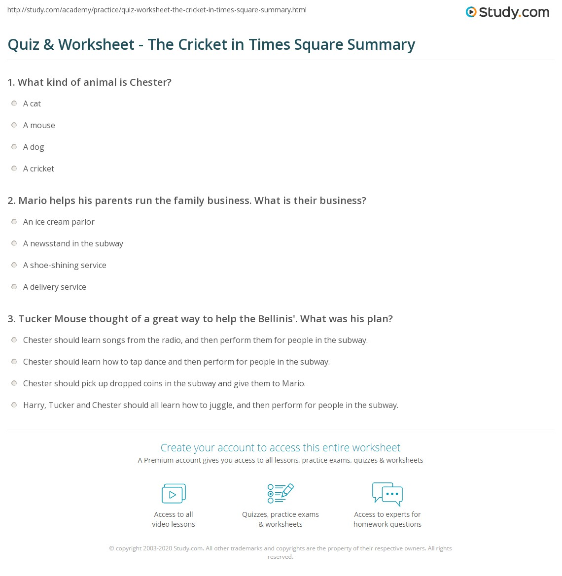 Quiz & Worksheet - The Cricket in Times Square Summary | Study.com