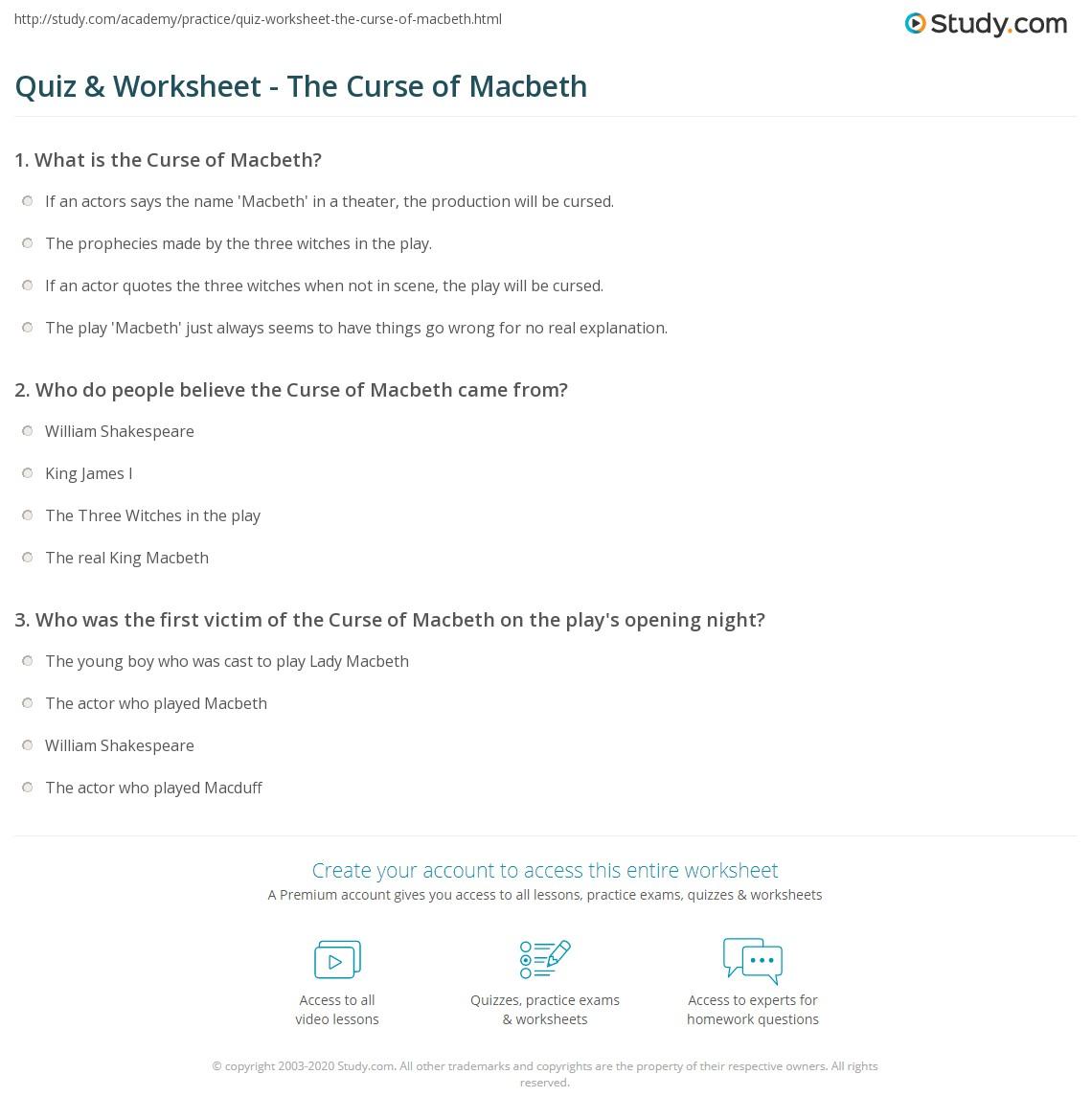 Quiz Worksheet The Curse of Macbeth – Math Curse Worksheets