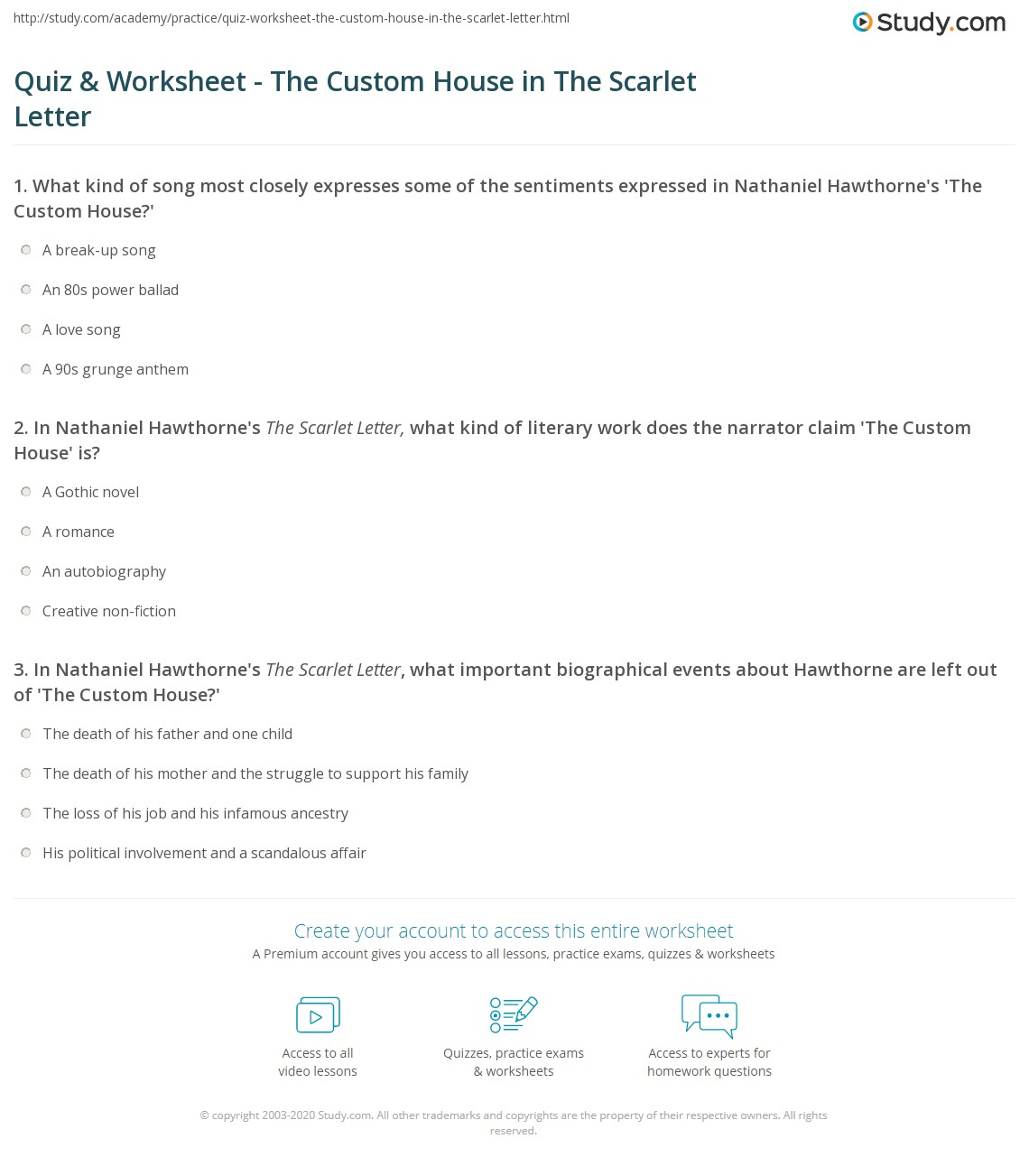 Quiz & Worksheet   The Custom House in The Scarlet Letter | Study.com