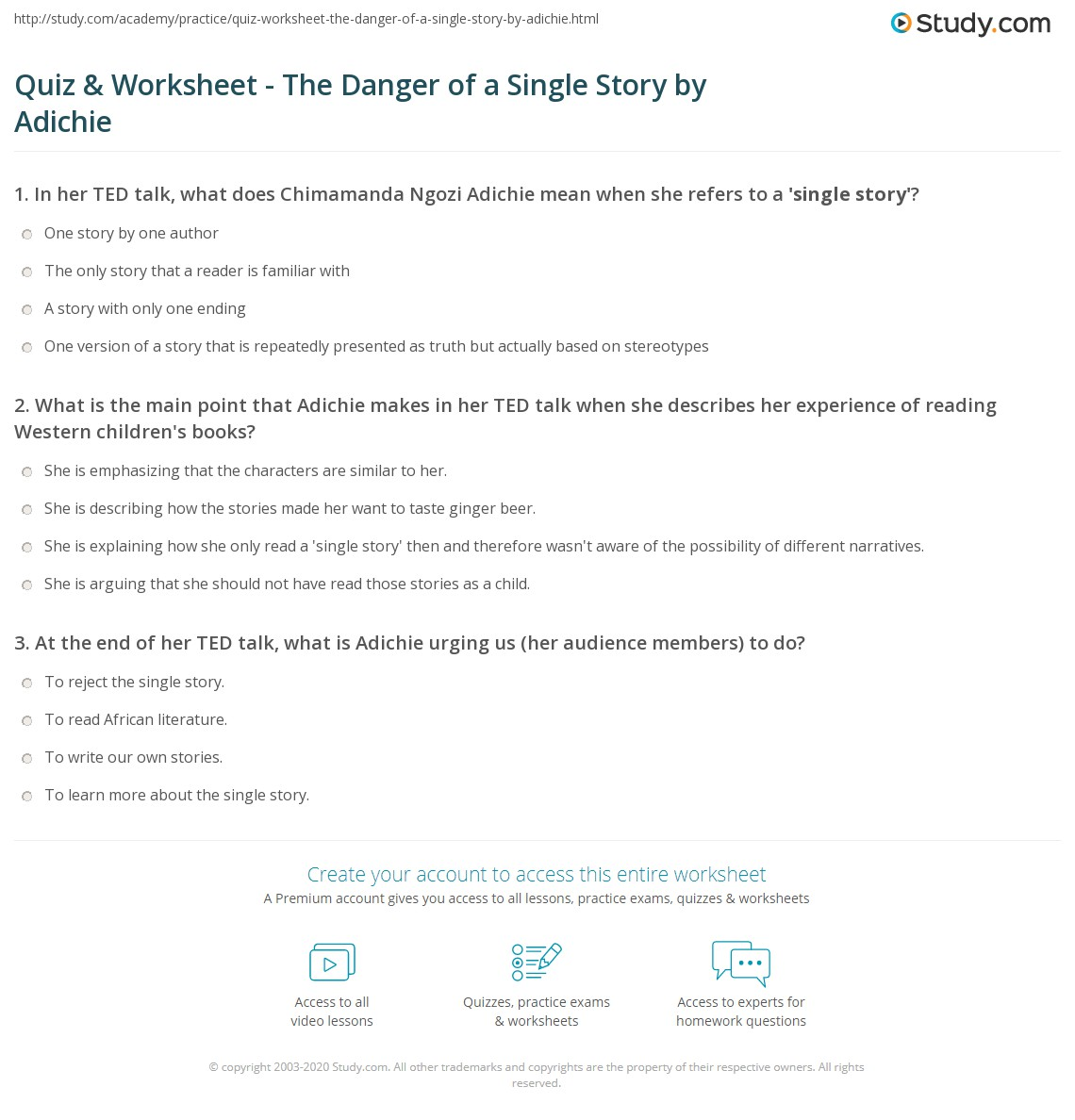 Quiz & Worksheet - The Danger of a Single Story by Adichie | Study.com