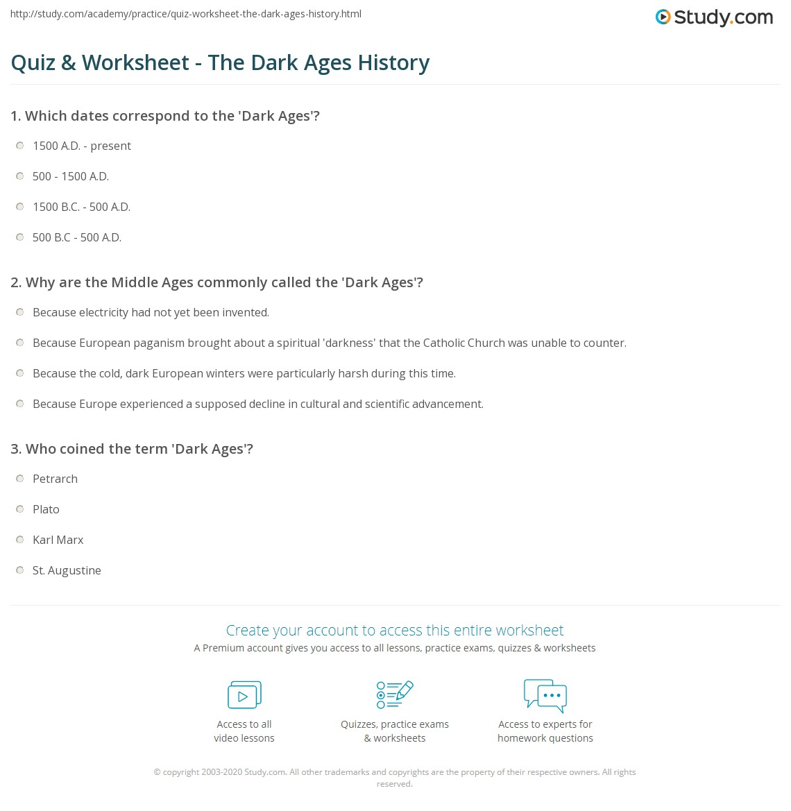 quiz worksheet the dark ages history. Black Bedroom Furniture Sets. Home Design Ideas