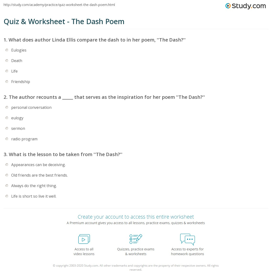 image regarding Poem the Dash Printable named Quiz Worksheet - The Sprint Poem