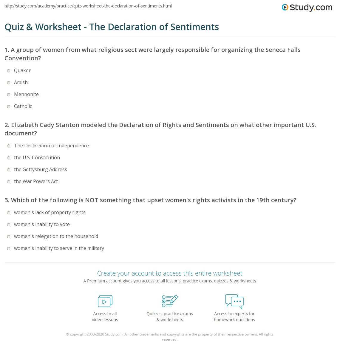 Worksheets Document Analysis Worksheet quiz worksheet the declaration of sentiments study com print summary analysis worksheet