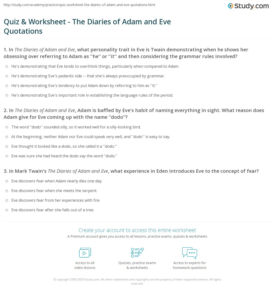 quiz u0026 worksheet the diaries of adam and eve quotations study com