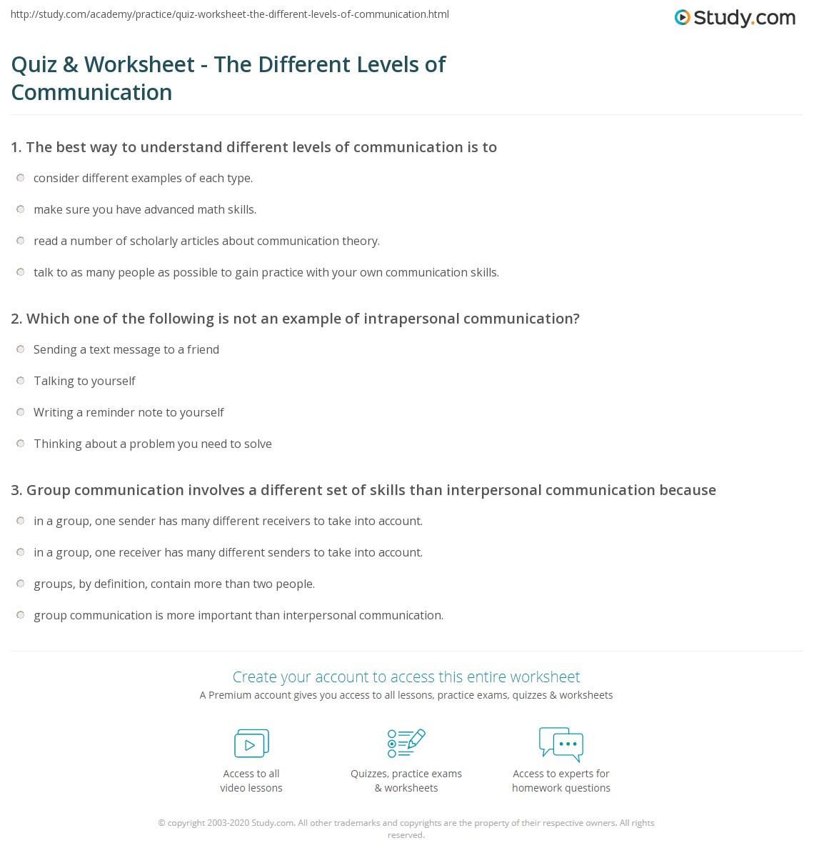 Uncategorized Communication Worksheets quiz worksheet the different levels of communication study com print what are worksheet