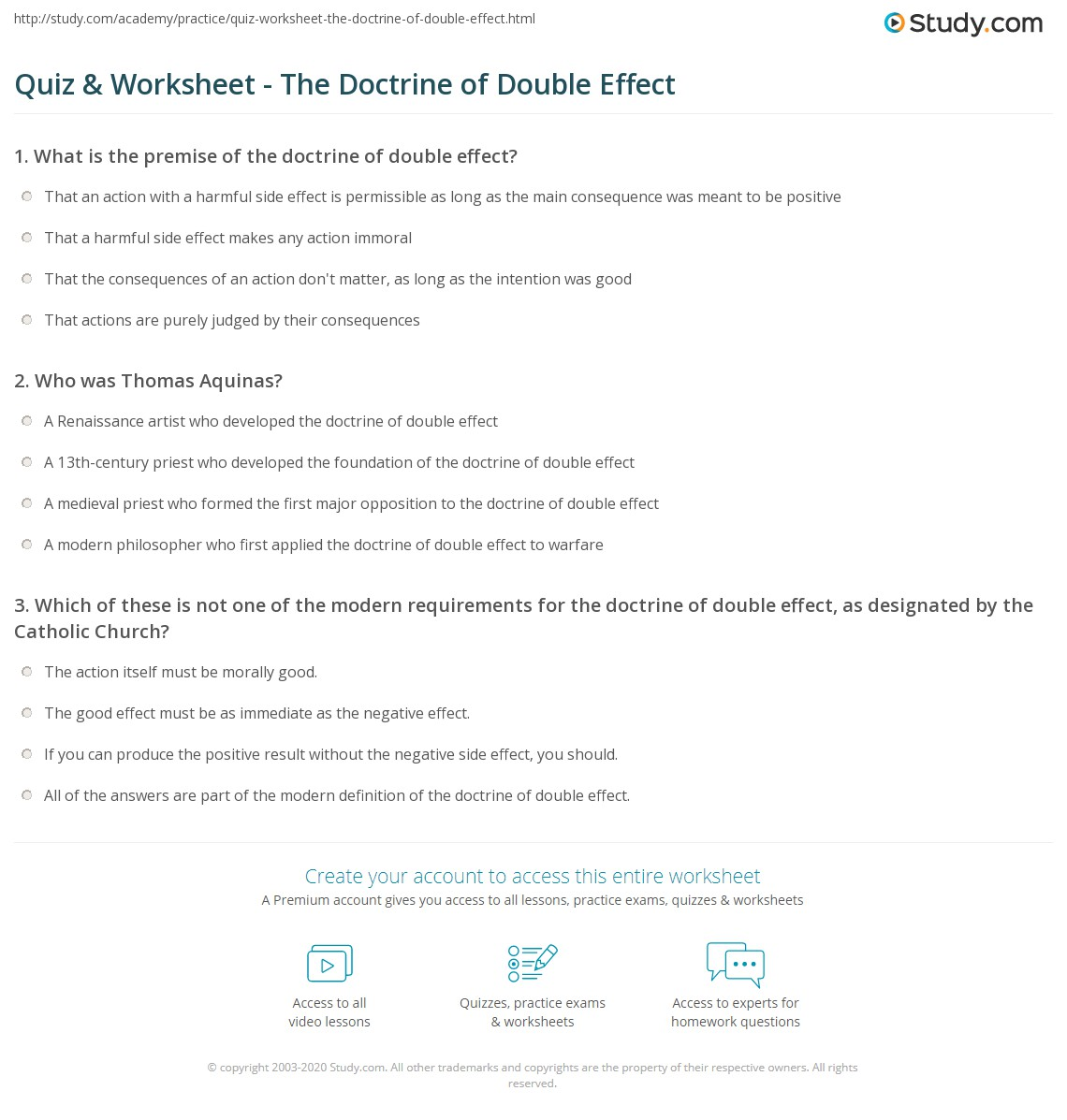 Quiz & Worksheet - The Doctrine of Double Effect | Study com
