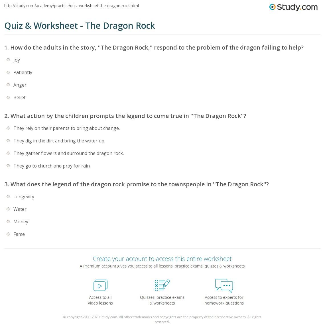 Quiz Worksheet The Dragon Rock Study