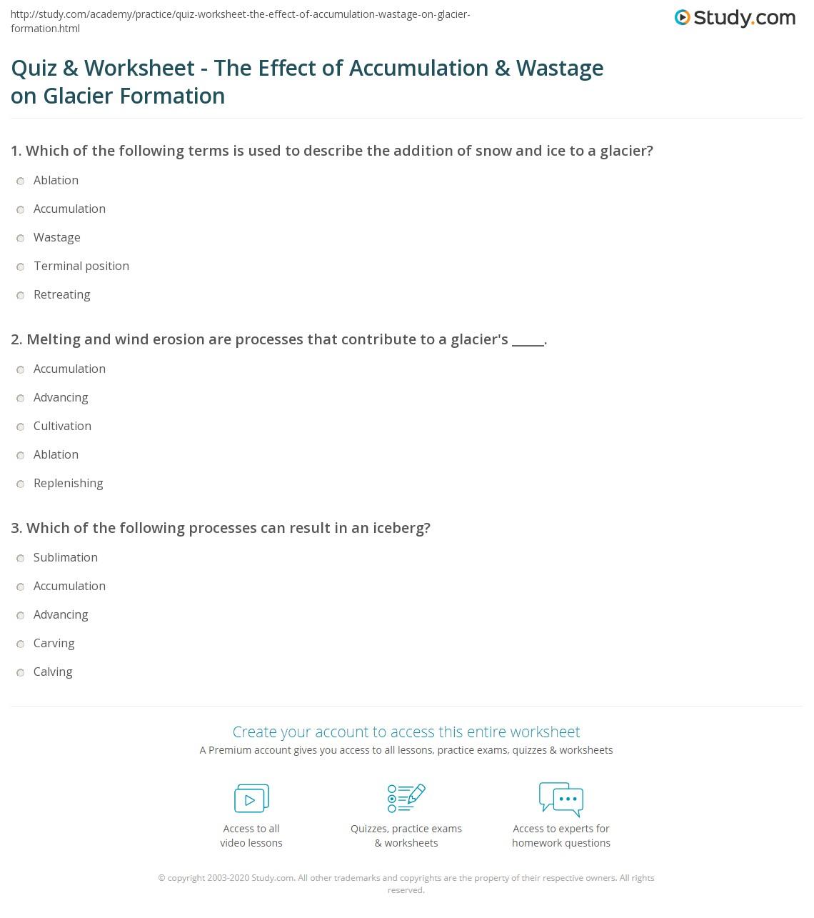 quiz worksheet the effect of accumulation wastage on glacier formation. Black Bedroom Furniture Sets. Home Design Ideas