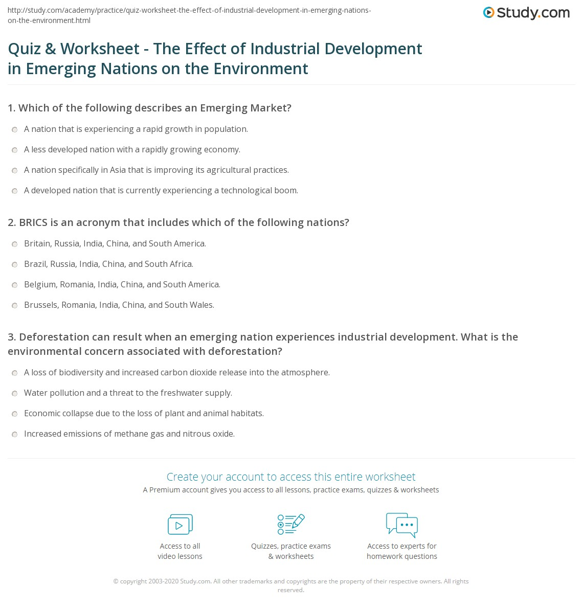 Quiz & Worksheet The Effect of Industrial Development in