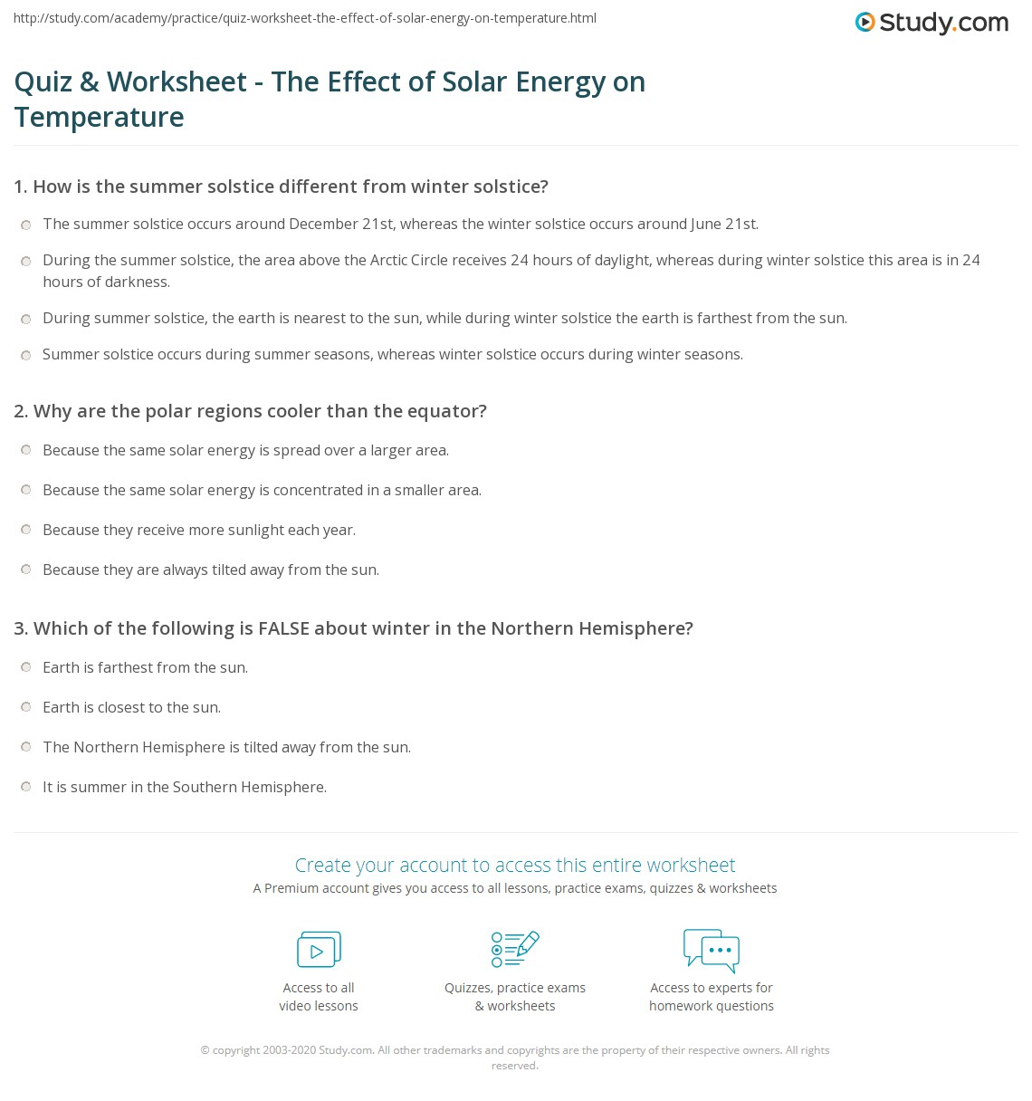 quiz amp worksheet the effect of solar energy on