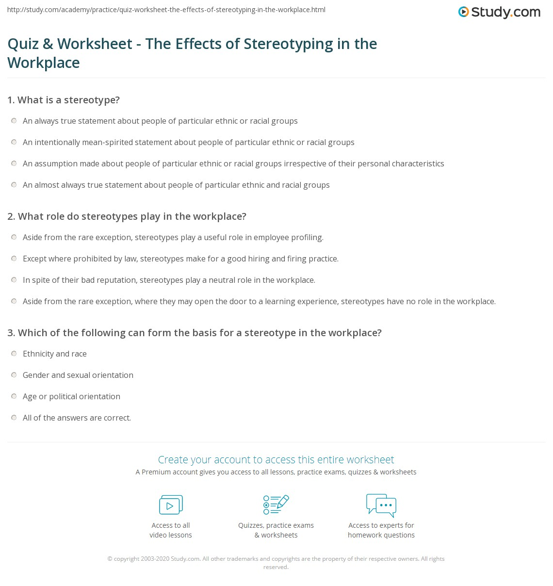 quiz worksheet the effects of stereotyping in the workplace print stereotyping in the workplace definition examples effects worksheet