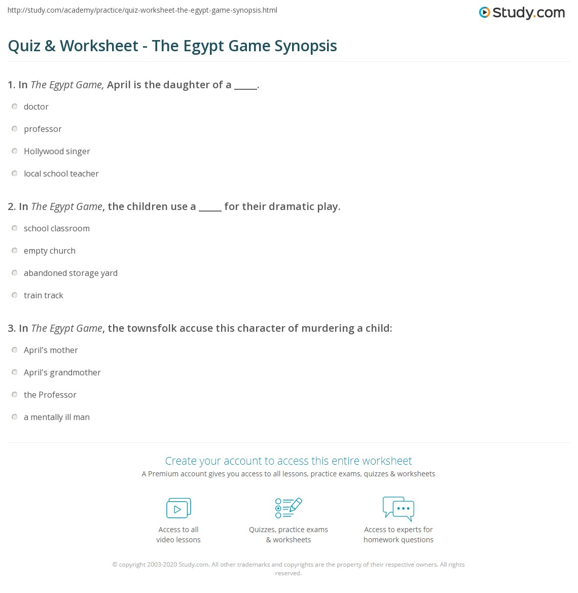 Quiz Worksheet The Egypt Game Synopsis Study Com
