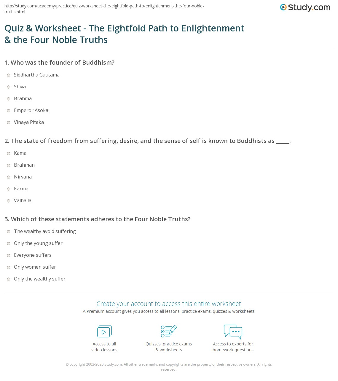 quiz worksheet the eightfold path to enlightenment the four noble truths. Black Bedroom Furniture Sets. Home Design Ideas