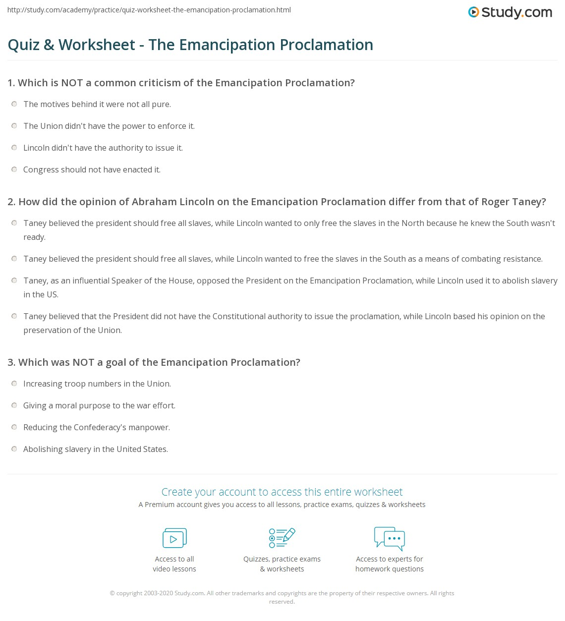 worksheet Emancipation Proclamation Worksheet quiz worksheet the emancipation proclamation study com print creation context and legacy worksheet