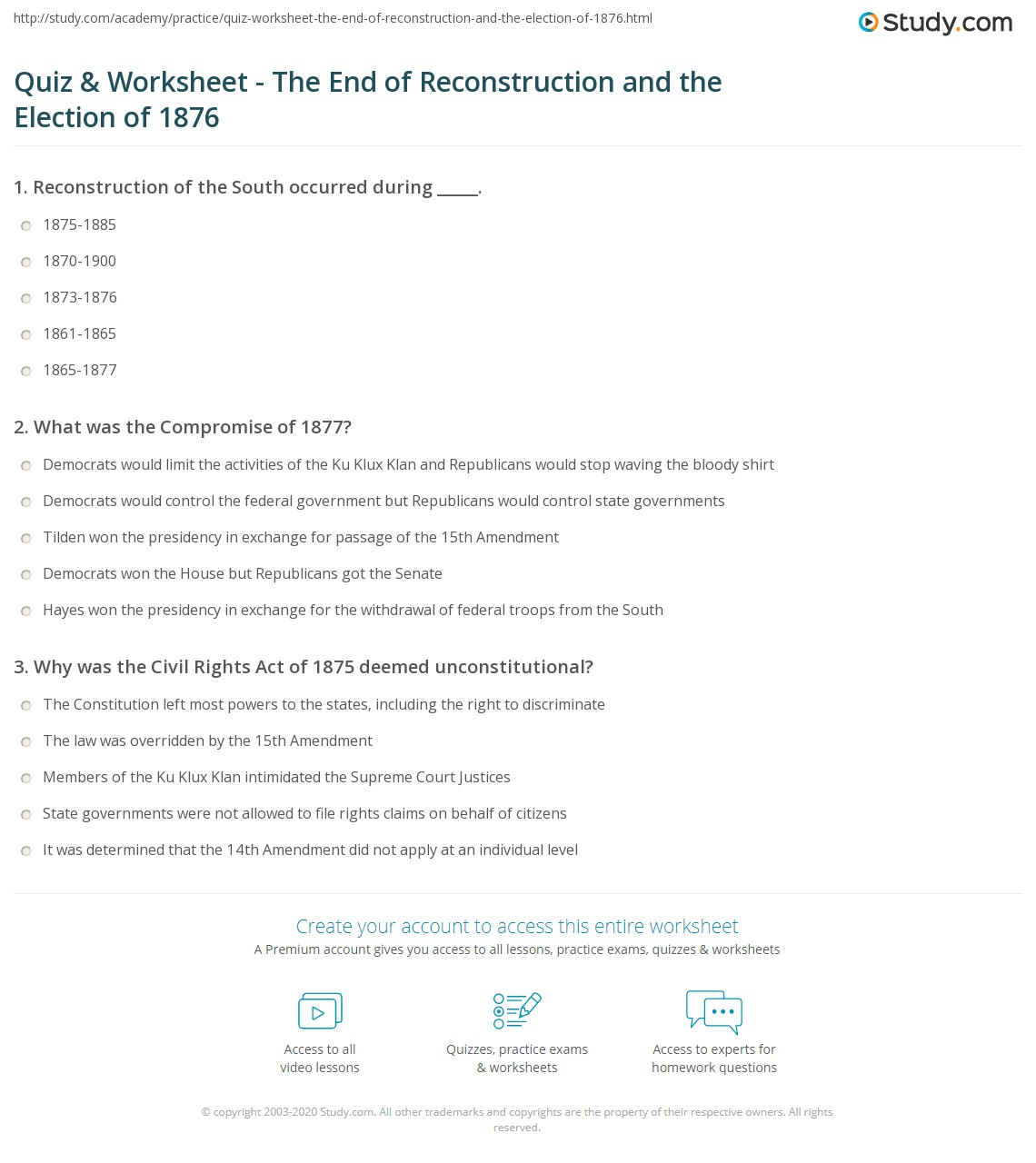 Quiz Worksheet The End of Reconstruction and the Election of – Reconstruction Worksheets