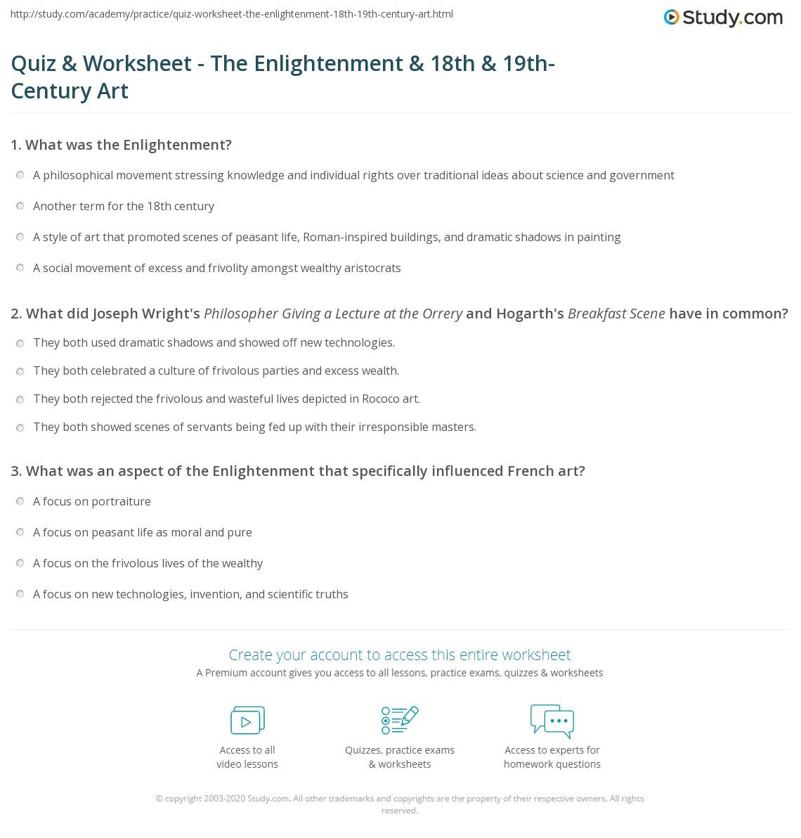 Quiz Worksheet The Enlightenment 18th 19th Century Art