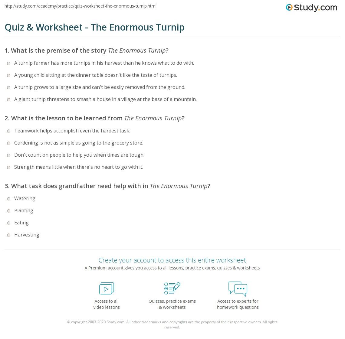 Workbooks the enormous turnip worksheets : Quiz & Worksheet - The Enormous Turnip | Study.com