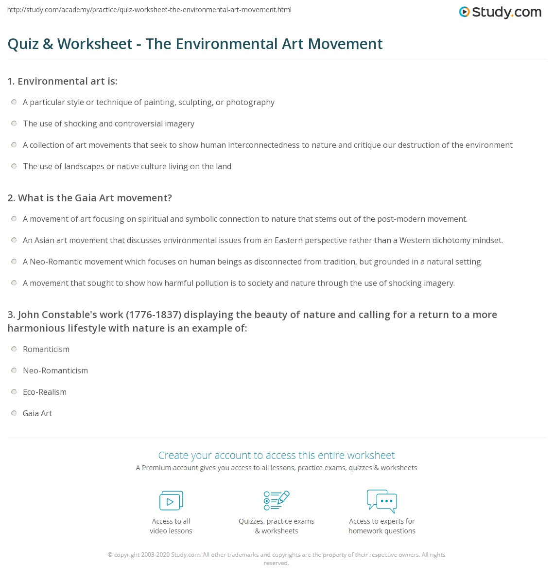 Worksheets Art Critique Worksheet quiz worksheet the environmental art movement study com print what is definition history worksheet