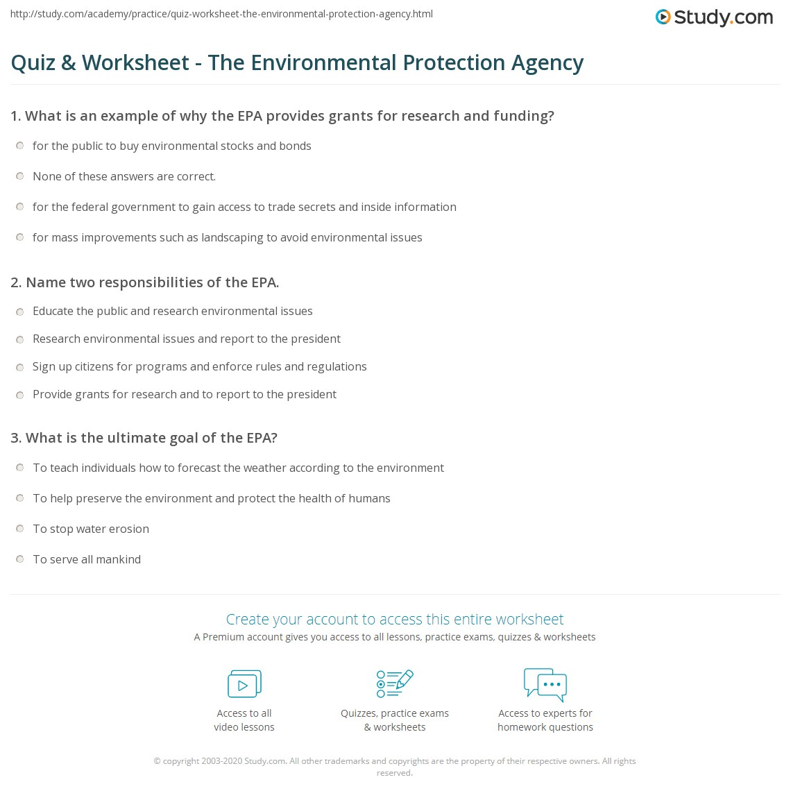 Quiz worksheet the environmental protection agency study name 2 responsibilities of the epa xflitez Choice Image