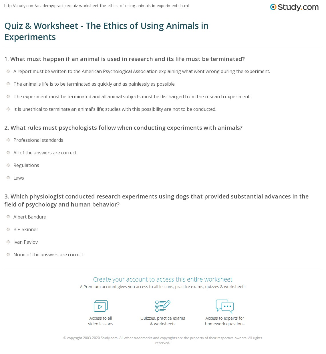 quiz worksheet the ethics of using animals in experiments. Black Bedroom Furniture Sets. Home Design Ideas