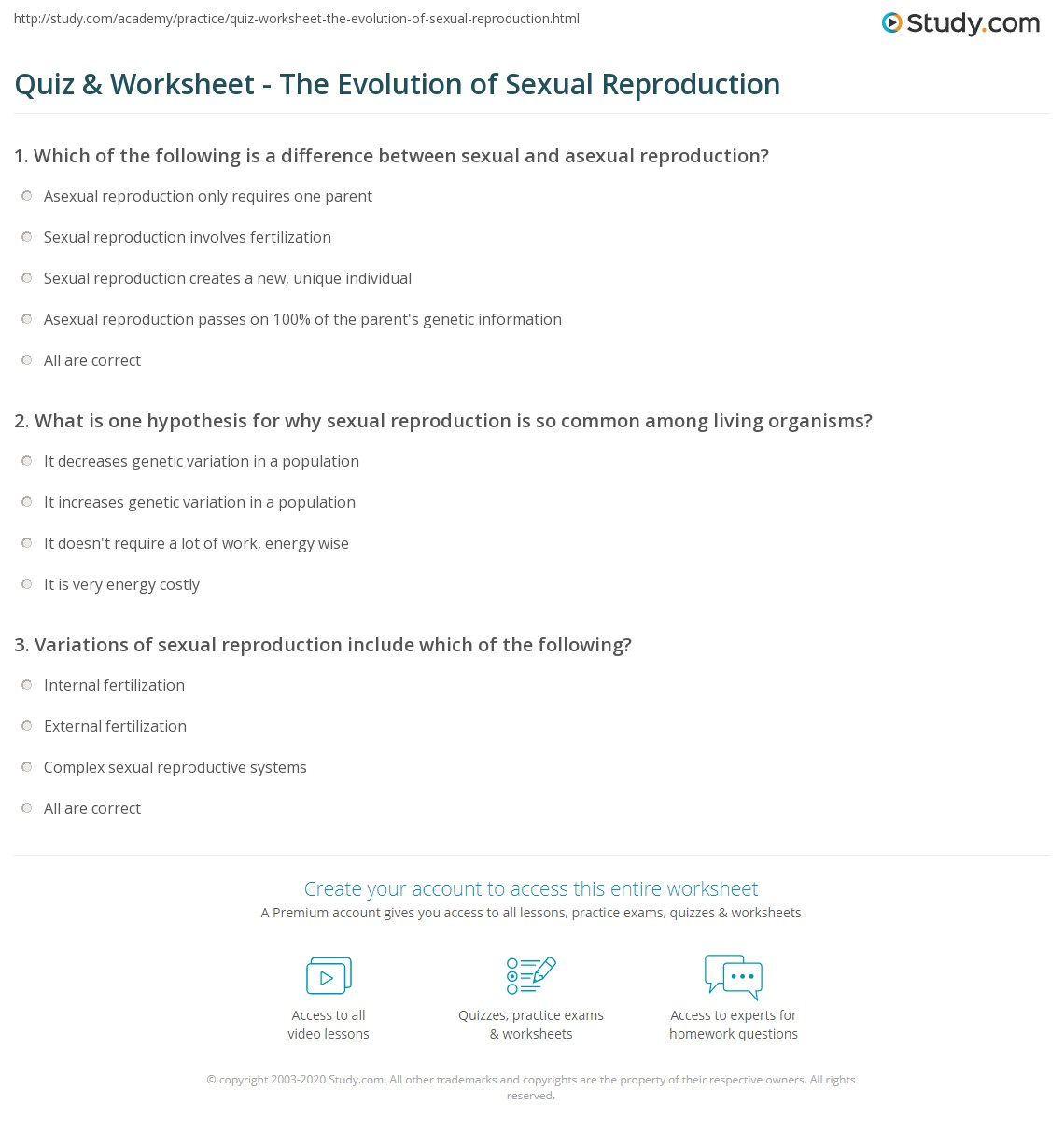 worksheet Asexual And Sexual Reproduction Worksheet quiz worksheet the evolution of sexual reproduction study com print worksheet