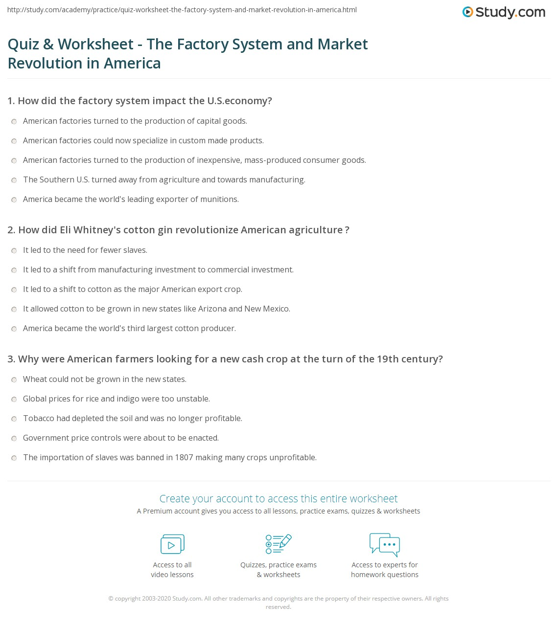 Quiz Worksheet The Factory System And Market Revolution In