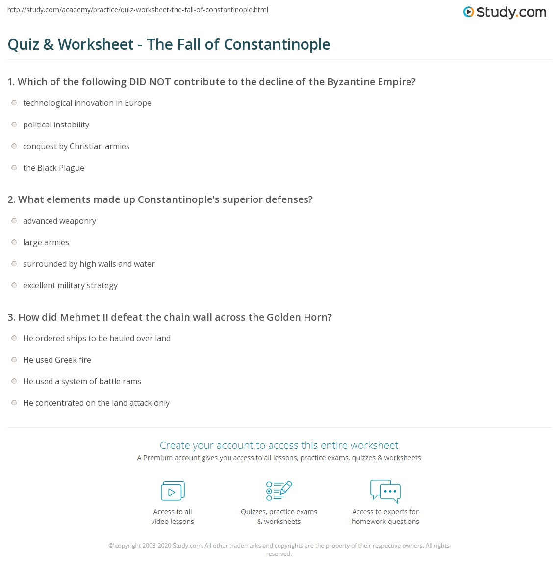 quiz worksheet the fall of constantinople. Black Bedroom Furniture Sets. Home Design Ideas
