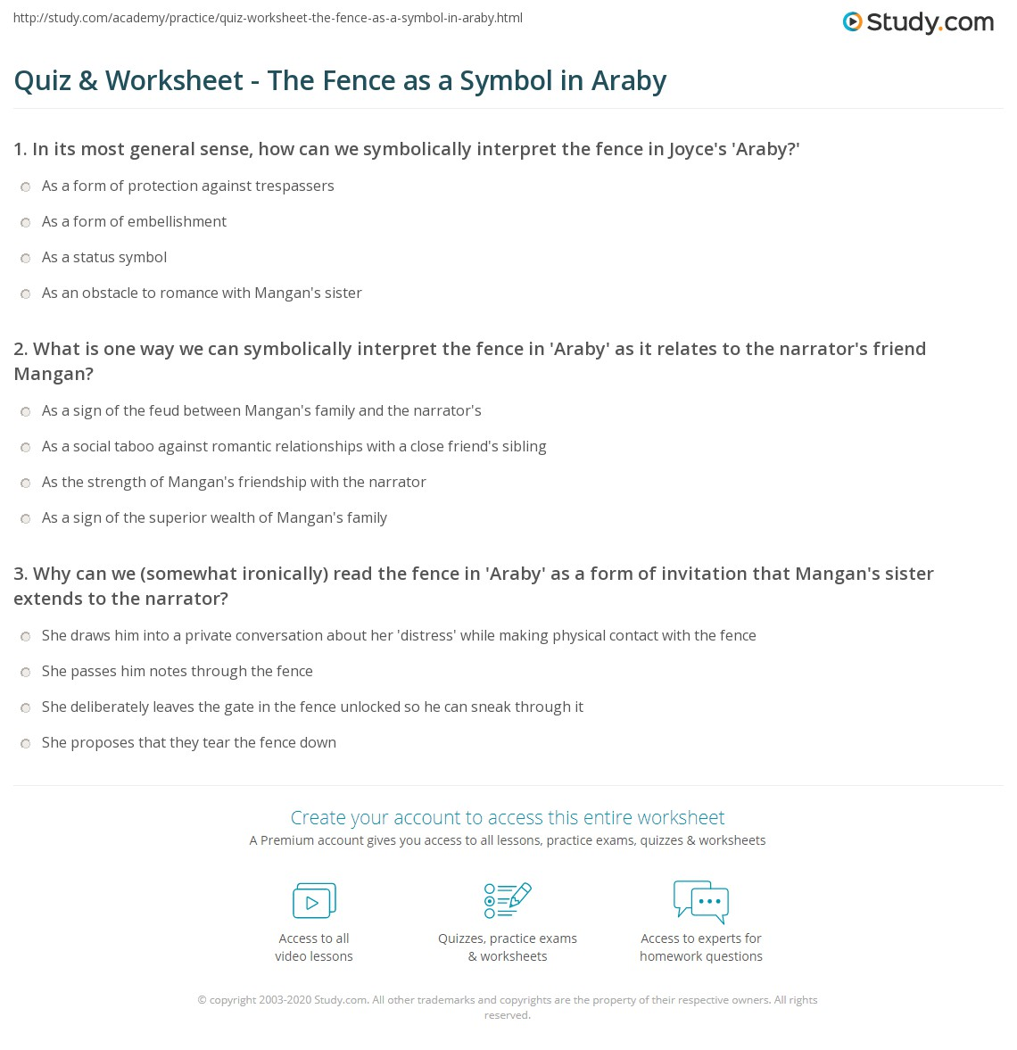 Quiz Worksheet The Fence As A Symbol In Araby Study