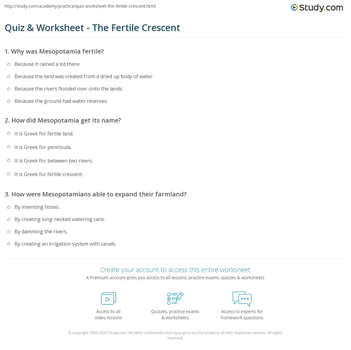 Quiz worksheet the fertile crescent study print the fertile crescent cradle of civilization worksheet fandeluxe
