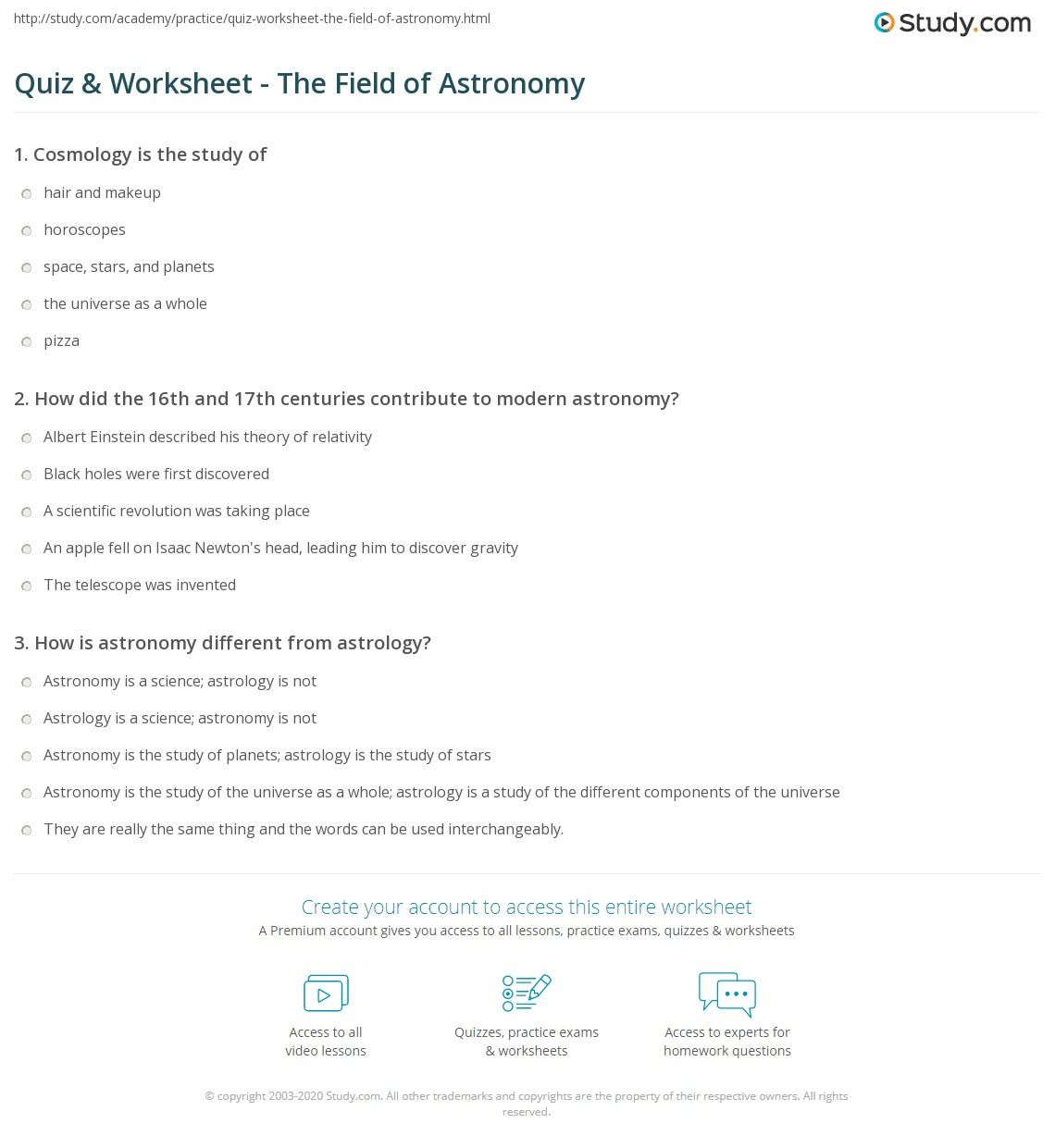 Worksheets Astronomy Worksheets quiz worksheet the field of astronomy study com print scientific worksheet