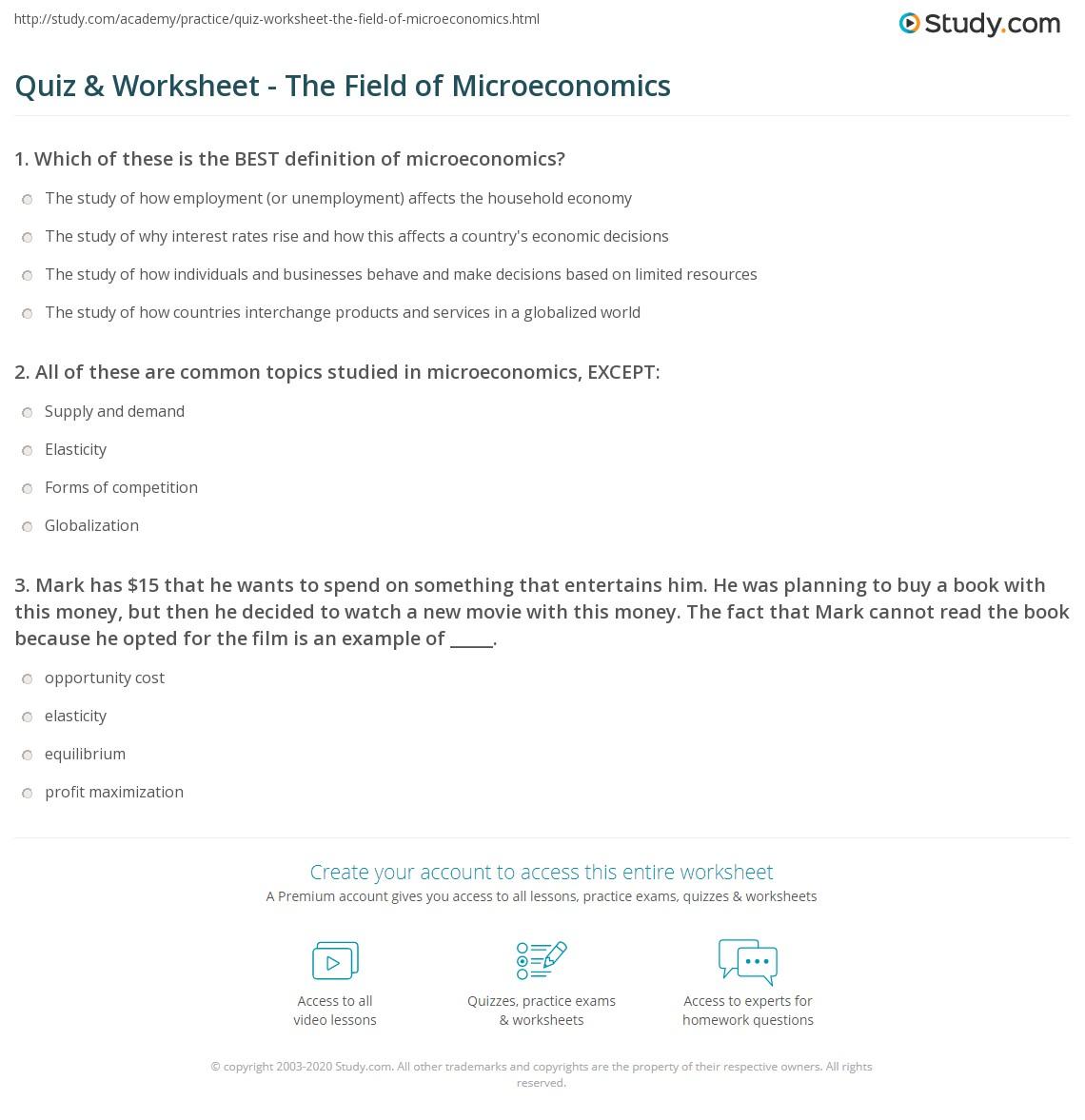 Quiz & Worksheet - The Field of Microeconomics | Study com