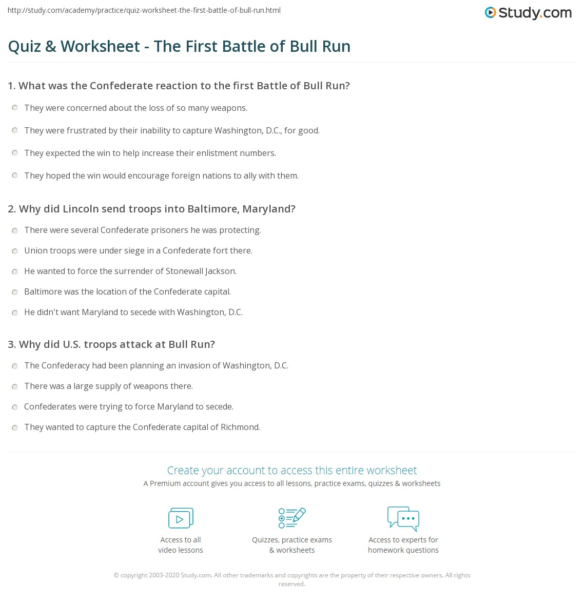 worksheet America Story Of Us Civil War Worksheet quiz worksheet the first battle of bull run study com print civil war blood is shed worksheet