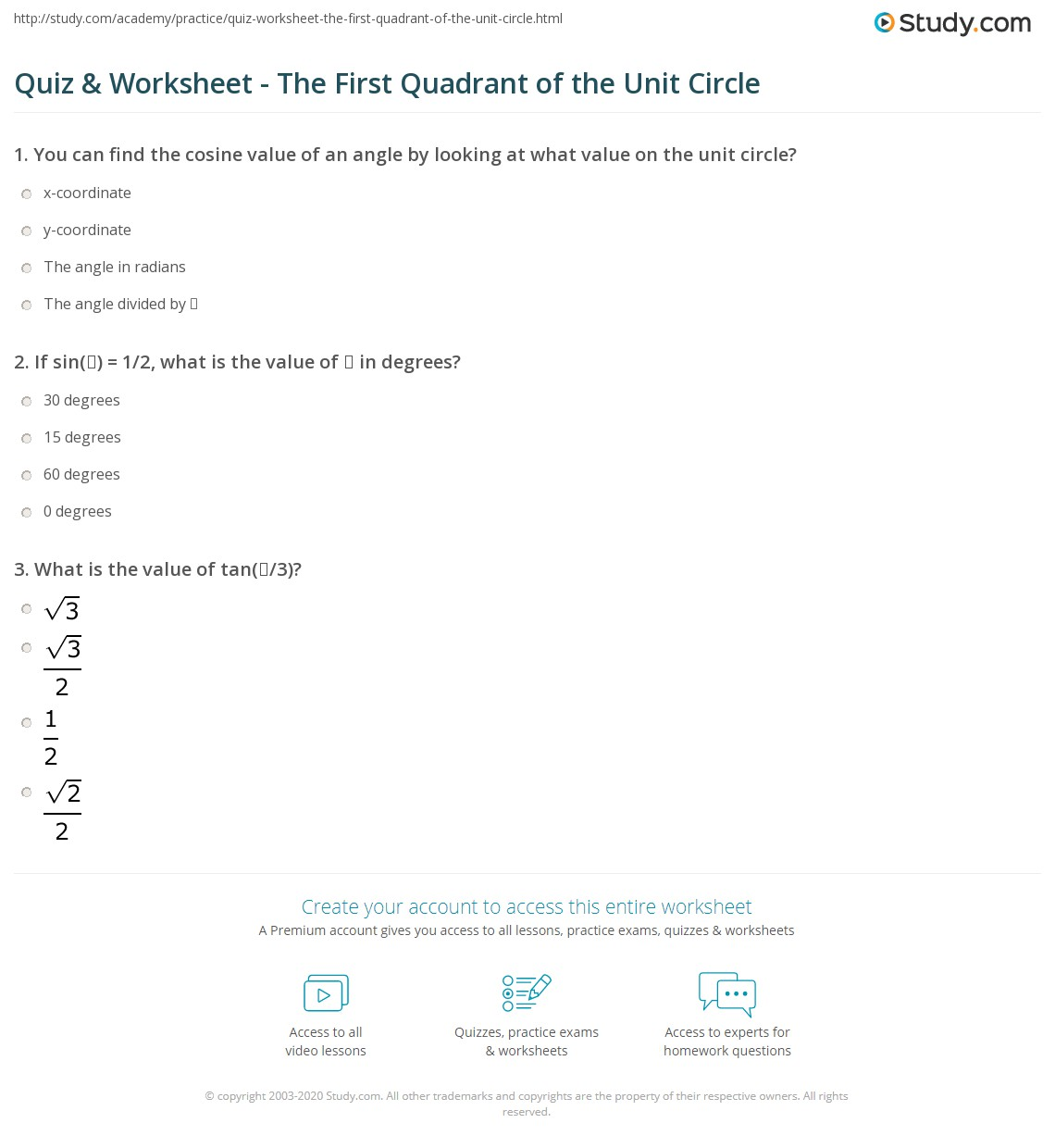 Quiz & Worksheet - The First Quadrant of the Unit Circle | Study.com